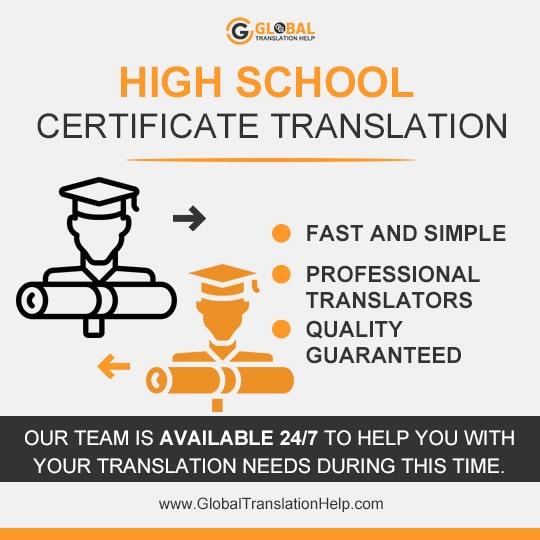 High School Certificate Translation